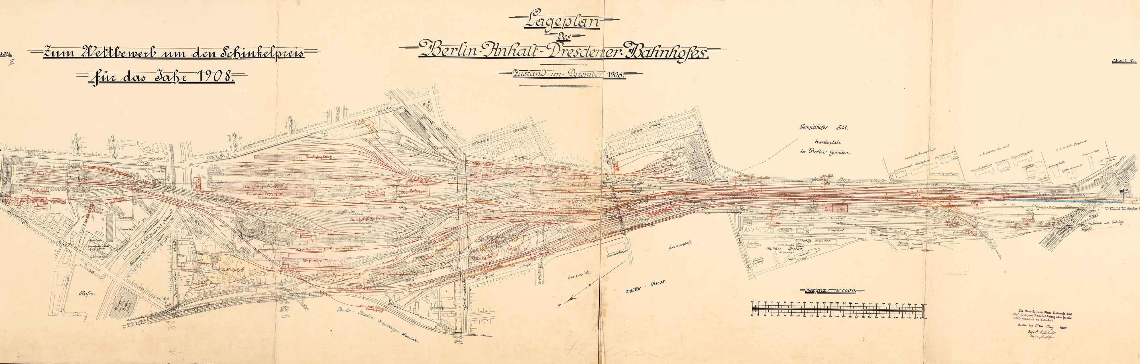 Erweiterung und Umgestaltung des Anhalter Bahnhofs, Schinkelwettbewerb 1908