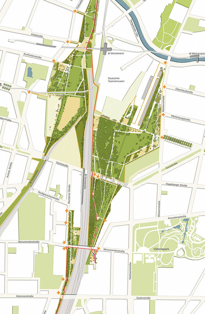 Park master plan with the Yorckbrücken and a cycle path, August 2013