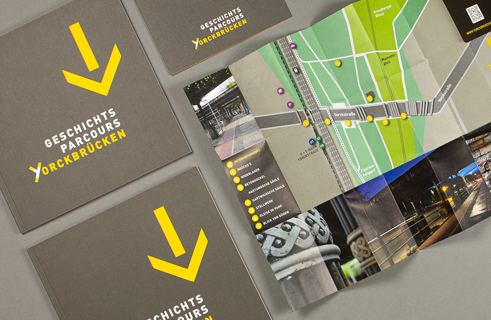 Download project brochure and fold-out trail map Geschichtsparcours Yorckbrücken