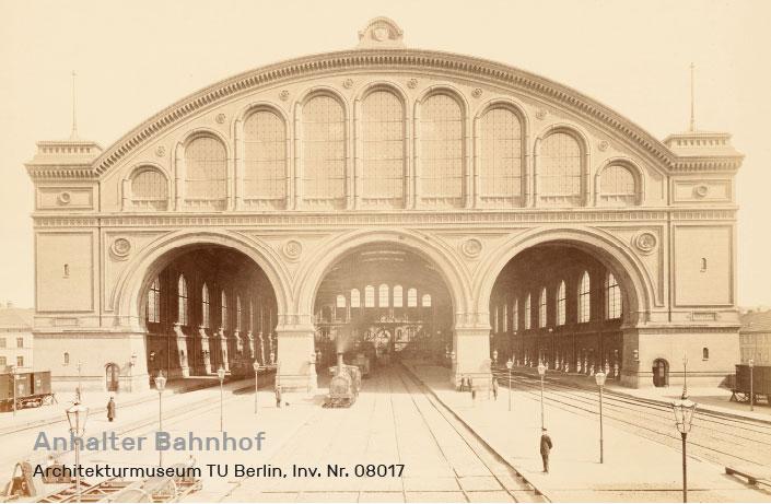 Histosche Abbildung des Anhalter Bahnhofs des Architekten Franz Schwechten